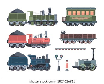 Old steam locomotives set. Comfortable green cars semaphores retro powered trains coal trailers classic rail travel with smoke artistic color designs convenient transportation. Art vector.