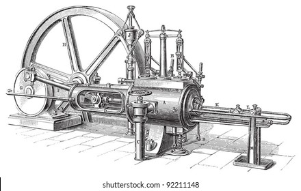 Old steam machine / vintage illustration from Meyers Konversations-Lexikon 1897