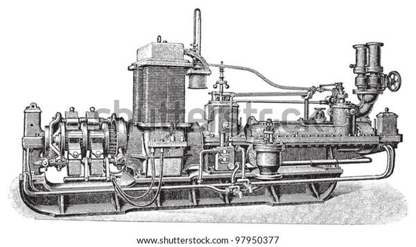 Old Steam Turbine Electric Generator Vintage Stock Vector