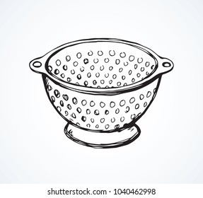 Old steel mesh percolate pot on white backdrop. Freehand line black ink hand drawn water filter bowl object logo emblem sketchy in artistic retro scribble etching style pen on paper space for text