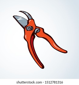 Old steel orange lop mower plier logotype on white space for text. Bright red color drawn sharp tree twig grow snip object logo pictogram emblem in clip art vintage doodle cartoon style. Closeup view