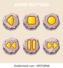 old stone audio buttons, gold computer icons