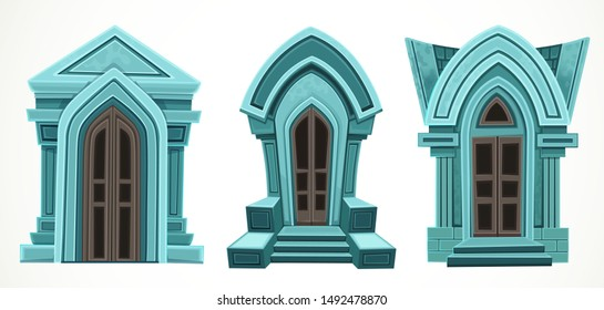 Old stone Crypts set isolated on a white background