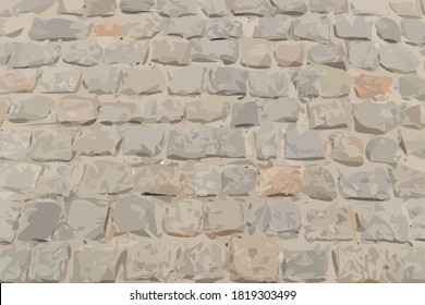 Old Stone Pavement Texture Background Top View. Grey Granite Cobblestone Road Pattern, Vintage Block Sidewalk Mockup, Paved Roadway Wallpaper