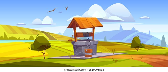 Old stone well with drinking water on green hill. Vector cartoon summer landscape with vintage well with wooden roof, pulley and bucket. Basin for water source or spring near farm or village