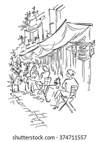 Old street cafe. Vector illustration.  Street of old town. People sitting street cafe.