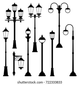 Old street lamps set in monochrome style. Vector illustrations isolate. Urban lantern streetlight classic