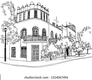 Old street of Tel Aviv, black and white vector illustration in hand drawn style. Urban landscape sketch. Line art. Ink drawing on white.