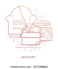 Old stuff. Modern flat vector infographics of old stuff. Flat illustration of old stuff. The concept of old stuff.  Armchair, tape recorder, TV, fishing rod, box