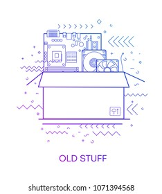 Old stuff. Modern flat vector infographics of old stuff. Flat illustration of old stuff. The concept of old stuff.Motherboard, hard drive, cooler, box