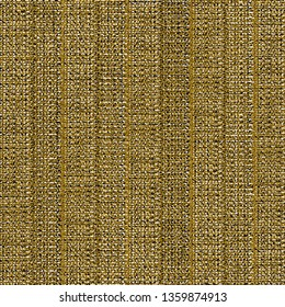 Old sturdy fabric. Golden background with striped sackcloth texture. Burlap. Vector illustration.
