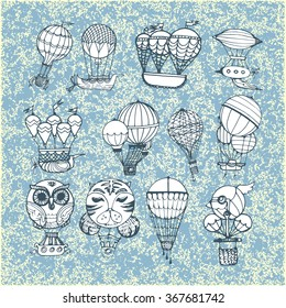 Old style airship and balloon hand drawn doodle set isolated vector illustration. Great for retro cards