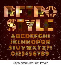 Old style alphabet. Retro type font disco, vintage typography poster with sunbeams textured background vector, EPS10. Gold and brown palette