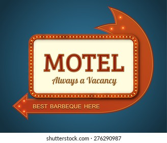 Old style American motel road sign. EPS10 vector illustration of a big motel billboard with a red arrow and light bulbs.