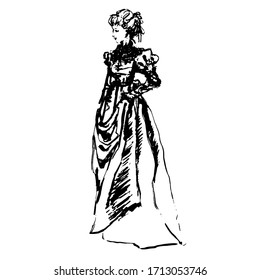 Old style black ink hand drawn lady in long dress. Grey background