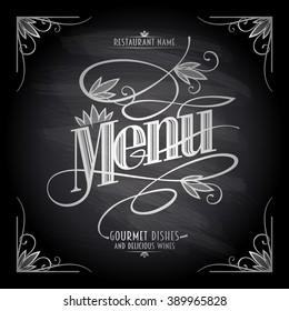 Old style floral chalkboard restaurant menu design