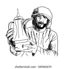 Old Style Hand Drawn Arabic man holding Arabic Coffee Pot. Vector Illustration.