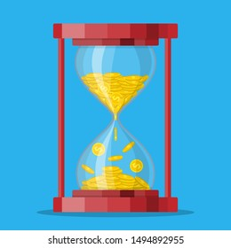 Old style hourglass clocks with dollar coins inside. Time is money concept. Vector illustration in flat style