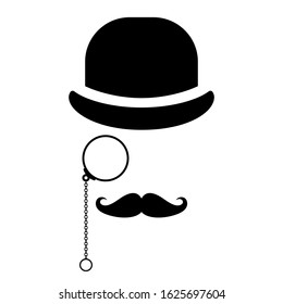 Old style man with pince-nez, vector icon illustration isolated on white background
