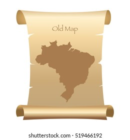 Old Style Map Of Brazil On Parchment Paper Vector Illustration