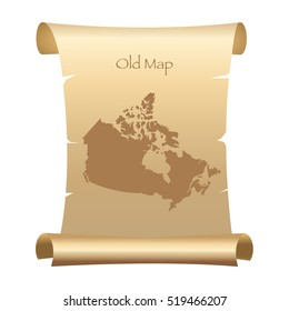 Old Style Map Of Canada On Parchment Paper Vector Illustration
