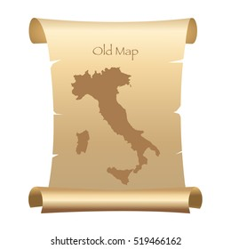 Old Style Map Of Italy On Parchment Paper Vector Illustration