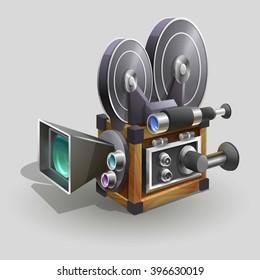 Old style movie camera. Vector illustration.