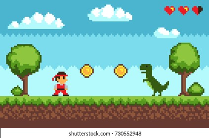 Old style pixel game , picture representing character and dinosaur, coins and health, trees and bushes, sky and clouds on vector illustration