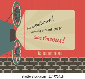 Old style poster for a retro cinema with a placeholder for your text. Movie hall with a screen and seats. Vector image.