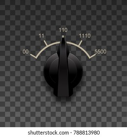 Old style switch knob on a transparent background. Realistic switcher design. Black switch round knob.