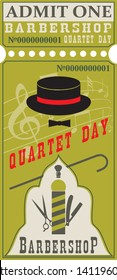 Old Style Ticket for Barbershop Quartet Day