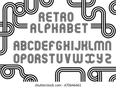 Old Style Vector Alphabet. Retro Type Font Disco, Vintage Typography Poster. Stripe, Geometric Letters. Black and White illustration.