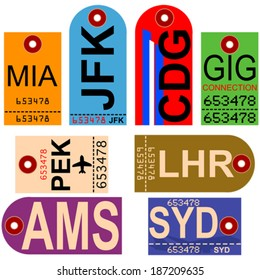 Old style vector illustration showing retro looking airplane tags with different airport codes