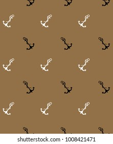 Old style vector seamless pattern with sea anchor