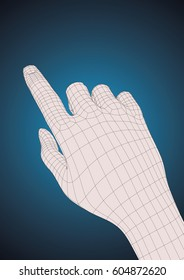 Old style wireframe human right hand touching, pushing or indicating something with index finger