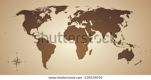 Old style world map with compass icon. Vector illustration