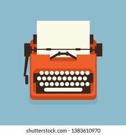The old styled vintage typewriter. Flat design vector illustration. It is possible to add any text on to the paper. Illustration for international authors day.