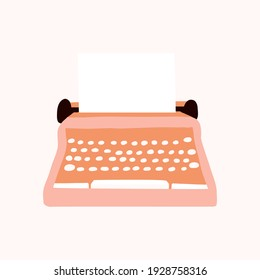 Old styled Vintage Typewriter with paper icon elements illustration. international authors day.