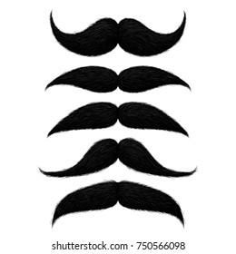 Old stylish black mustaches set hand drawn illustration