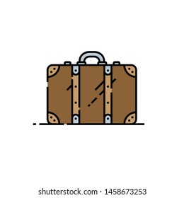 Old suitcase line icon. Retro brown leather travel bag symbol. Vintage luggage sign. Vector illustration.