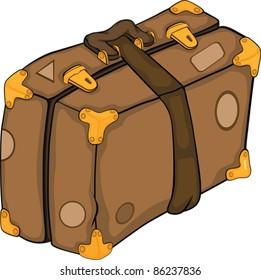 Old suitcase.Cartoon
