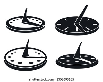 Old sundial icons set. Simple set of old sundial vector icons for web design on white background