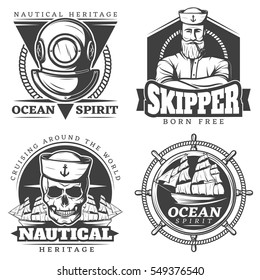 Old tattoo sailor naval label set with nautical heritage ocean spirit skipper old free descriptions vector illustration