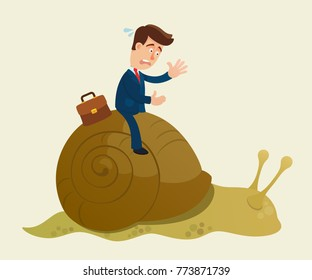 Old technologies concept. Businessman riding a snail. Inefficient management. Business, vector flat illustration. Cartoon, concept.