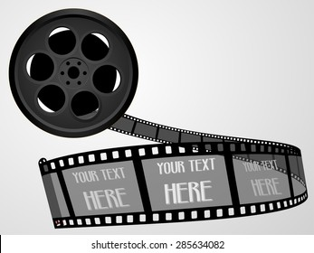 Old technology concept - black color 55mm twisted movie film strip . Cinema film roll with space for text. Realistic retro 3d design, vector art image illustration, isolated on white background, eps10