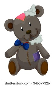 Old teddy bear with patches illustration