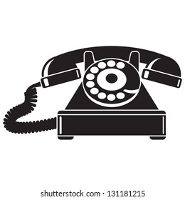 Old telephone 40-50's. Black and white vector illustration