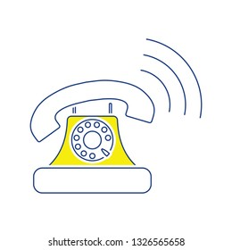 Old telephone icon. Thin line design. Vector illustration.