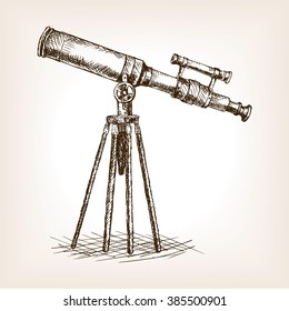 Old telescope pop art style vector illustration. sketch style vector illustration. Old engraving imitation. Old telescope hand drawn sketch imitation. Science tool