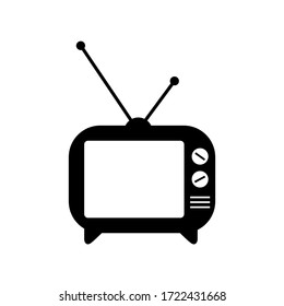 Old Television Icon Vector, Black TV Image